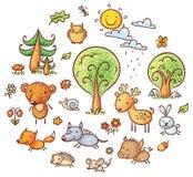 Комплект леса шаржа бесплатная иллюстрация