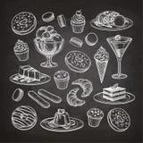 Комплект десерта на доске иллюстрация штока