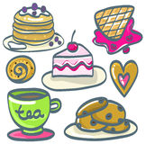 Комплект десертов нарисованных рукой также вектор иллюстрации притяжки corel Стоковое фото RF