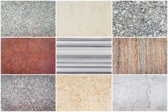 Комплект естественных каменных текстуры и предпосылки Стоковая Фотография RF