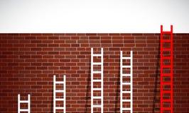 Комплект лестниц и кирпичной стены. дизайн иллюстрации иллюстрация вектора