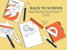 Комплект деталей назад к школе на желтой предпосылке с местом для вашей рекламы вектор Стоковые Фото