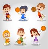 Комплект детей играя шарж баскетбола Стоковые Фотографии RF