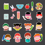 Комплект детей и значка образования бесплатная иллюстрация