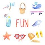 Комплект летних каникулов акварели Акварель нарисованная рукой Стоковое Изображение RF