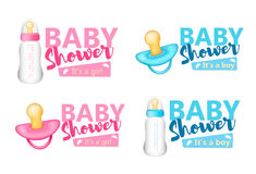 Комплект детского душа Голубые и розовые реалистические бутылки младенца и pacifi Стоковые Фотографии RF