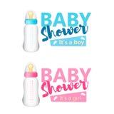Комплект детского душа Реалистический голубой и розовый значок бутылок младенца Vect Стоковое Изображение RF