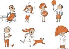 Комплект деятельности при детей Иллюстрация вектора