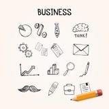 Комплект дела doodles, нарисованная рука значков вектора Стоковое Фото