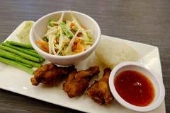 Комплект еды салата папапайи Стоковое Изображение