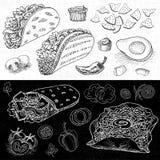 Комплект еды цвета нарисованной мелом, специй Стоковая Фотография