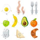Комплект еды шаржа иллюстрация штока