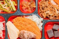 Комплект еды Японии оладь оладь мяса Стоковые Фото