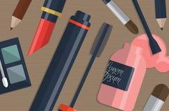 Комплект женских косметик на таблице с местом для вашего текста вектор Стоковые Изображения