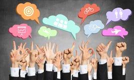 Комплект жестов рукой и значков Стоковая Фотография
