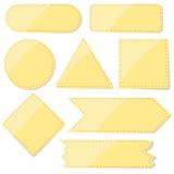 Комплект желтого цвета завертывает иллюстрацию в бумагу запаса стикеров Стоковое фото RF