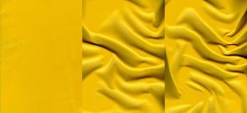 Комплект желтых кожаных текстур Стоковые Фото