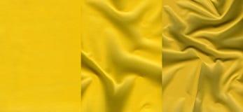 Комплект желтых кожаных текстур Стоковые Фотографии RF