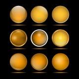 Комплект желтых круглых кнопок для вебсайта Стоковое Изображение