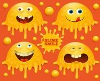 Комплект желтых характеров emoji улыбки шлама иллюстрация штока