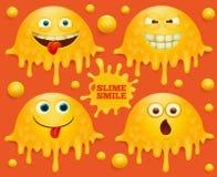 Комплект желтых характеров emoji улыбки шлама иллюстрация вектора
