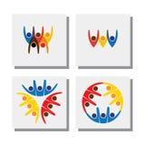 Комплект живого счастливого excited логотипа друзей людей - vector значки Стоковые Изображения RF