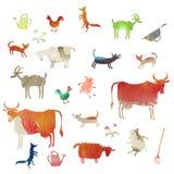 Комплект животноводческих ферм акварели Стоковая Фотография