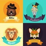 Комплект животных битника моды бесплатная иллюстрация