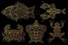 Комплект животных удит, омар, краб, морская черепаха, лягушка иллюстрация штока
