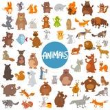Комплект животных характеров шаржа огромный бесплатная иллюстрация