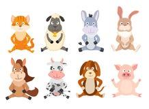 Комплект животных шаржа сидя вектор Стоковая Фотография