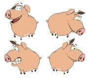 Комплект жизнерадостного шаржа свиней Стоковые Фотографии RF
