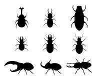 Комплект жука рогача в стиле силуэта, векторе Стоковые Изображения