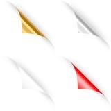 Комплект 4 завитых бумажных углов. иллюстрация вектора