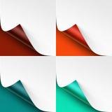 Комплект завитых покрашенных углов бумаги с тенью Стоковое Фото