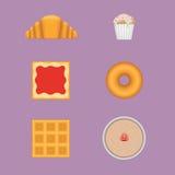 Комплект завтрака вектора сладостный Стоковые Фотографии RF