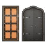 Комплект закрытых дверей в плоском стиле Изолят иллюстрации вектора Стоковая Фотография