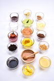 Комплект закуски хлеба различный заварной крем, батат, мед, шоколад и Стоковые Фото