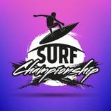 Комплект занимаясь серфингом ярлыков, значков и элементов дизайна Стоковые Изображения RF