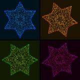 Комплект звезд рождества накаляя красочных шестиугольных иллюстрация вектора