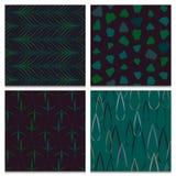 Комплект 4 зеленого и картин коричневого леса безшовных Стоковые Фото