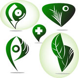 Комплект зеленого логотипа значка Стоковые Фотографии RF