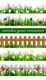 Комплект зеленой травы безшовный Стоковое Изображение