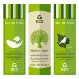 Комплект зеленых знамен экологичности Стоковое Фото