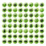 Комплект зеленых значков для ваших места или передвижных apps Стоковое Изображение RF