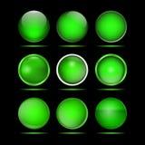 Комплект зеленых круглых кнопок для вебсайта Стоковое Фото