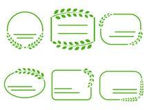 Комплект зеленых рамок на теме экологичности Стоковые Изображения RF