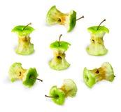 Комплект зеленых stubs яблока Стоковые Фото