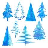 Комплект зимы дерева свет зимнего времени - голубая покрашенная рука акварели Стоковая Фотография RF