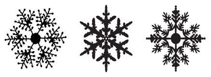 Комплект зимы снежинки черноты изолировал силуэт значка Стоковые Изображения